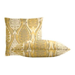 """Cushion Source - Sunbrella Aura Honey Throw Pillow Set - The Sunbrella Aura Honey Outdoor Throw Pillow Set consists of two 18"""" x 18"""" throw pillows featuring an ikat pattern in mustard, taupe, and cream."""