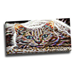 Cat Nap - Abstract Cat Animal Canvas, 32W x 16H, 1 Panel - This animal artwork is a gallery wrapped canvas piece. This design is printed in high quality fade resistant ink on premium quality cotton canvas.