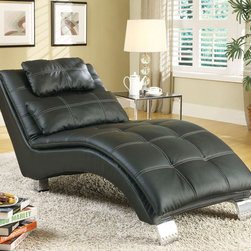 Coaster - 550075 Chaise - Black - Create a contemporary look in your room with this pillow-top chaise featuring an arched base for support and contrasting stitching throughout. Match this black chaise with a sofa bed and ottoman (#300281/300283).