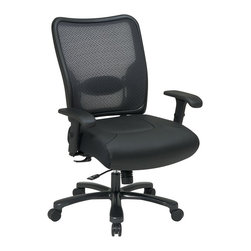 Space - Big Mans Professional Leather Seat and Air Gr - It's easy to see why this big and tall office chair will be a delight to use.  Leather seat is deeply cushioned with a luxurious feel.  Breathable back provides a lumbar adjustment to add support at just the right spot. * Click to visualize features. Pneumatic Seat Height (1). 360� Swivel (4). Mid-Pivot Knee Tilt (6). Tilt Tension (8). Tilt Lock (9). 44.5 in. H x 30.25 in. W x 28.75 in. D
