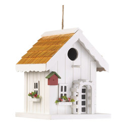 Koolekoo - Happy Home Birdhouse - Bright and cheery, just like the song of the lucky bird that gets to call this sweet house home! A perfect complement to your yard, this charming birdhouse features tiny window boxes bursting with tiny faux flowers, a trellis around the front door, and even a tiny little birdhouse of its own on the corner. Hang this from a tree in your yard and watch as new neighbors flock to move in!