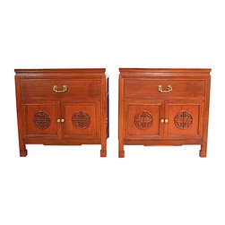 Vintage Asian Side Tables - Soul and Love Designs.  These pristine vintage asian inspired  end tables are a rare find.  Original brass hardware!
