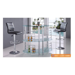 Modern 3 PC Bar Set with Black Barstools (Table and 2 Barstools) -