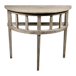 Demilune Table with a Medium Antique Painted Finish - Tailored and charming, the Reclaimed Lumber Demilune Table in authentic antiqued wood is a winsome addition to an entryway, bath, or architectural nook, and can even serve as a standing desk.  The table is constructed with traditional motifs; its three tapered legs rise to a baluster-style apron accented with wooden applique medallions.  For its size, the tall demilune table intrudes little on your space, making it perfect for keeping a large table lamp against a wall or displaying a priceless antique vase.