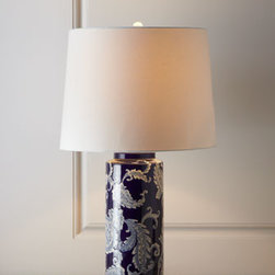 Horchow - Blue Paisley Lamp - Exclusively ours. A bit retro but still very popular, an iconic paisley print brightens the cylindrical body of this distinctive lamp. It's just the right size for a bedside table, accent table, or cozy nook. Made of ceramic. Linen shade. Uses one....