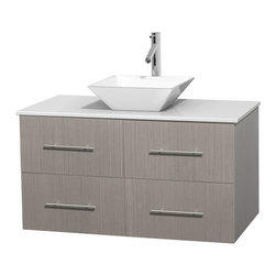 """Wyndham Collection - Centra 42"""" Grey Oak SGL Vanity, White Stone Top, White Porcelain Sink, No Mrr - Simplicity and elegance combine in the perfect lines of the Centra vanity by the Wyndham Collection. If cutting-edge contemporary design is your style then the Centra vanity is for you - modern, chic and built to last a lifetime. Available with green glass, pure white man-made stone, ivory marble or white carrera marble counters, with stunning vessel or undermount sink(s) and matching Mrr(s). Featuring soft close door hinges, drawer glides, and meticulously finished with brushed chrome hardware. The attention to detail on this beautiful vanity is second to none."""