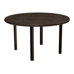 Homecrest Durango Round Standard Patio Dining Table - You might want to explain to your family that while the Homecrest Durango Round Standard Patio Dining Table does look like real leather, that doesn't mean that every other leather chair can just be left outside for the weekend. You really couldn't blame them though, as the faux leather that's stretched over the all-weather aluminum frame has a texture and rich grain that looks and feels like the real thing. The corrosion-proof aluminum frame is offered in your choice of classic frame finishes, and this table also features a central hole for an umbrella on those shady days. This table is also available in a range of sizes, so find the one that works best in your outdoor space.Product Dimensions:Small table: 42 diam. x 27H inchesLarge table: 52 diam. x 27H inchesAbout Homecrest:The Homecrest brand was founded in 1953 as the offspring of a retail furniture shop in Wadena, Minnesota when Mert Bottemiller and Al Engelmann set out to offer the market a better ottoman than those offered by their competitors. This venture soon led to their first line of patio furniture, and in 1956, Bottemiller patented the swivel rocker mechanism that is still a central part of the products they produce today from their plant in Minnesota. For almost 60 years the Homecrest brand has been the go-to name for quality outdoor furniture when customers want a sophisticated, versatile style that complements their interior décor and expands their lifestyles outside.
