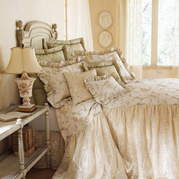 "Ann Gish - Jane Wilner Designs ""Amelia"" Bed Linens  - Beautiful embroidered flowers and outlined chenile embroidery are the star of this wonderful bedding ensemble by Jane Wilner Designs.  ""Amelia"" bedding feels light and airy...like sleeping in the clouds."