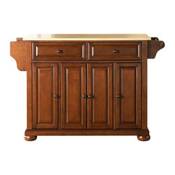 Crosley Furniture - Alexandria Natural Wood Top Kitchen Island in - Beautiful Raised Panel Doors. Antique Brass Finish Hardware. Total of Three Adjustable Shelves Inside Cabinet. Spice Rack with Towel Bar. Towel Bar / Paper Towel Holder. Solid Wood Top with Natural Finish. Solid Hardwood & Veneer Construction. 34 in. H x 52 in. W x 18 in. D (106.5 lbs.)Constructed of solid hardwood and wood veneers, this kitchen island is designed for longevity. The beautiful raised panel doors and drawer fronts provide the ultimate in style to dress up your kitchen. Two deep drawers are great for anything from utensils to storage containers. Behind the four doors, you will find adjustable shelves and an abundance of storage space for things that you prefer to be out of sight. Style, function, and quality make this mobile kitchen cart a wise addition to your home.
