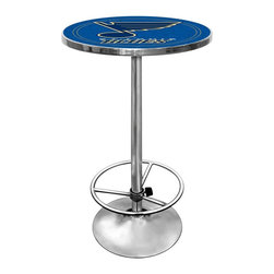 Trademark Global - Round Pub Table w NHL St. Louis Blues Logo Ta - Your interior décor will be singing the Blues with this hockey pub table. Sleek steel base has chrome finish and comfortable footrest. NHL-licensed team logo and yellow & blue color scheme highlights durable acrylic top. Perfect for meals, game night and more. Great for gifts and recreation decor. 0.125 in. Scratch resistant UV protective acrylic top. Full color printed logo is protected by the acrylic top. Table top is trimmed with chrome plated banding. 1 in. Thick solid wood table top. Chrome base with foot rest and adjustable levelers. 28 in. L x 28 in. W x 42 in. H (72 lbs.)This National Hockey League officially licensed pub table is the perfect for your game room on Hockey Night.