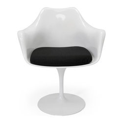 Inmod - Saarinen Tulip Style Armchair, White Shell / Black Cushion - Part of the Inmod Signature Collection