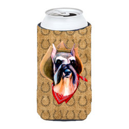 Caroline's Treasures - Schnauzer Dog Country Lucky Horseshoe Tall Boy Koozie Hugger - Schnauzer Dog Country Lucky Horseshoe Tall Boy Koozie Hugger Fits 22 oz. to 24 oz. cans or pint bottles. Great collapsible koozie for Energy Drinks or large Iced Tea beverages. Great to keep track of your beverage and add a bit of flair to a gathering. Match with one of the insulated coolers or coasters for a nice gift pack. Wash the hugger in your dishwasher or clothes washer. Design will not come off.