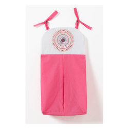 Sophia Lolita - Diaper Stacker - Diaper stacker designed in solid pink and white cotton fabric with appliqu� of contemporary circles pattern on front.