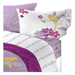 Franco Manufacturing - 4pc Disney Tinkerbell Powder Purple Bedding Full Sheet Set - FEATURES: