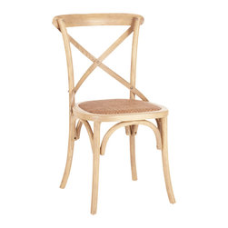 Safavieh - Safavieh FranklinxBack Chair in Weathered Oak, Set of 2 - Called the Franklin X Back Chair, Safavieh's version of Michael Thonet's classic A150 bistro chair is crafted of solid American oak in a weathered oak finish. With rattan caning on its seat and the characteristic arch brace Franklin complements every kitchen and dining room from country to coastal. Comes in sets of two. What's included: Side Chair (can only be purchased in sets of 2).