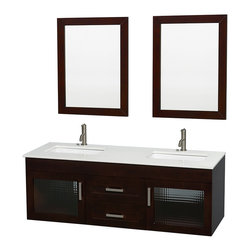 Wyndham Collection - Manola Bathroom Vanity in Espresso, White Stone Top, UM Square Sinks,Mirrors - Daring and modern, the Manola bathroom vanity is a bold statement and a powerful centerpiece for any bathroom. Inspired by the contemporary European design ethic and crafted without compromise, these vanities are designed to complement any decor, from contemporary to minimalist modern.
