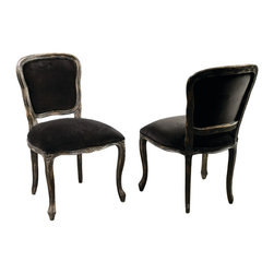 Four Hands - Orleans Dining Chair, French Black - If you've got a taste for romance, this charming chair belongs in your traditional dining room. With a gently curved frame of solid hardwood, slightly distressed for a vintage vibe, and 100 percent cotton upholstery, it's as beautiful as it is comfortable.