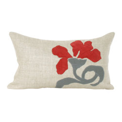 "V Rugs & Home - V Rugs & Home Clohe Long Pillow - Delicate and beautifully arranged velvet petals bloom across the Clohe long pillow. Adorned with red petals and a gray stem on Belgian linen, this pillow dresses up a sofa, chair or bed. 20""W x 12""H; Belgian linen and velvet; Feather/down insert included; Made in the USA; Dry clean only"
