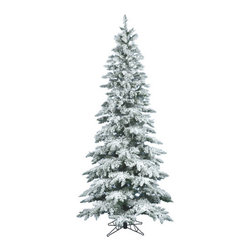 Vickerman - Flocked Utica Fir 6.5' Artificial Christmas Tree - Features: -Artificial Christmas tree. -Flocked Utica Fir collection. -744 Tips. -Heavy duty metal stand. -Assembly required. -Manufacturer provides 10 years construction warranty on tree.