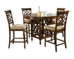 Standard Furniture - Standard Furniture Woodmont 6-Piece Counter Height Dining Room Set - Woodmont features graceful and soft shaping in a clean urban style. Striking lattice accents on chair backs are perfect for today's modern home. Rich design and elegant styling invite a relaxed setting in your home.