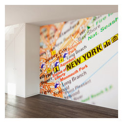 WallsNeedLove - New York Map Wall Mural Decal - They say home is where the heart is...we say home is where you put a giant mural on your wall to mark where you heart is...Go Giants? Jets?