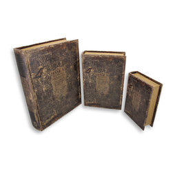 Zeckos - Set of 3 Antique Holy Bible Secret Nesting Book Boxes - This set of 3 cool nesting storage boxes is designed to look like leather bound antique Bibles. Each box has a leather shell, with metallic gold wooden 'page' sides. The largest box measures 13 inches by 10 1/4 inches by 3 1/4 inches, the middle one is 10 3/4 by 7 1/2 by 2 3/4 inches, and the smallest is 8 by 5 1/2 by 2 1/8. They're great for storing important papers, treasures or anything you want to hide in plain sight. They make a great gift for friends and family.