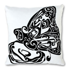 EJH Brand - Butterfly Decorative Throw Pillow - Since you're so accustomed to seeing the butterfly in color, this black and white rendition really pops. Add this beautiful symbol of transformation, screen-printed on an ecofriendly blend of hemp and organic cotton, to your favorite setting and let your decor take wing.