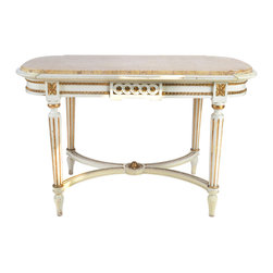 Consigned Swedish Tea Table w/ Marble Top 19th Century - 19th-century Swedish Gustavian tea table with polychrome painted finish and gold accents. Marble top insert above molded and gilt decorated apron supported by reeded legs connected by an X-stretcher.