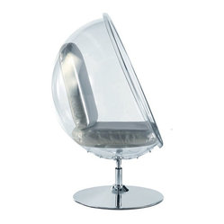 Fine Mod Imports - Ball Acrylic Chair in Silver - Features:
