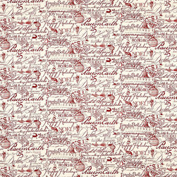 """Ballard Designs - Holiday Script Red Fabric by the Yard - Content: 100% cotton. Repeat: Non-railroaded fabric with 12.5"""" repeat. Care: Dry clean. Width: 56"""" wide. Holiday motifs printed on soft, cream cotton duck. .  .  .  . Because fabrics are available in whole-yard increments only, please round your yardage up to the next whole number if your project calls for fractions of a yard. To order fabric for Ballard Customer's-Own-Material (COM) items, please refer to the order instructions provided for each product.Ballard offers free fabric swatches: $5.95 Shipping and Processing, ten swatch maximum. Sorry, cut fabric is non-returnable."""