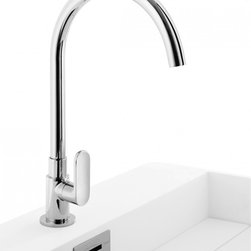 WS Bath Collections - Muci Cold Water Kitchen Faucet in Chrome - Muci 54250 Cold Water Mixer 8.9 x H 12.9, Cold Water Mixer Kitchen Faucet, Made of Chromed Brass, Made in Italy
