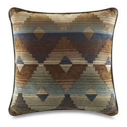 Croscill - Croscill Dakota 18-Inch Square Toss Pillow - This decorative square toss pillow features a woven chenille geometric pattern and dark brown trim that coordinates directly with the comforter and shams. It's an ideal way to complete the Southwestern look of the Dakota bedding set.
