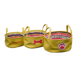 Enchante Accessories Inc - Dog Theme Cotton Canvas with Printed Liner Storage Bins Mustard (Set of 3) - 3 pc cotton canvas totes in pet motifs with poly liners