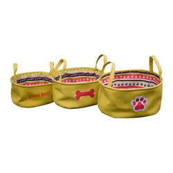 Enchante Accessories Inc - Dog Theme Cotton Canvas with Printed Liner Storage Bins Mustard (Set of 3) - 3 pc cotton canvas totes in pet motifs with poly liners