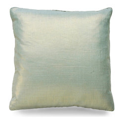 "Metallic Velvet Pillow - Aloe - 20"" - This square aloe accent cushion flashes small points of light in an even shimmer where they wink from within the rich texture of the Metallic Velvet Pillow. Add it to your home for instant opulence�in a chair, bed or sofa of your choosing, adding new pillows are a decorators best kept secret to updating the look of a space fantastically with minimal effort."