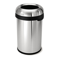 simplehuman - simplehuman 80-liter Stainless Steel Bullet Open Trash Can - The extra-large capacity and an open lid on this 80-liter trash canmake this an ideal choice for hotel lobbies,restaurants,or banquet rooms. A fingerprint-proof finish resists smudges to keep the stainless steel shiny.