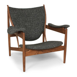 Twill & Ash Lounge Chair - Instantly add luxury and comfort to any space with the ever-neutral, always-popular Twill & Ash Lounge Chair. Its solid, walnut-stained American Ash frame makes this piece durable, while the armrests, seat, and backrest upholstered in twill black fabric help you relax in peaceful style.