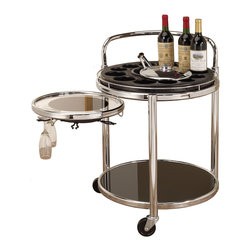 Coaster - Bottle Holders Black/ Chrome Serving Cart - Enjoy total convenience with this contemporary serving cart,crafted with a black and chrome finish. it has a modern appeal that is as stylish as it is convenient,and features caster wheels for easy mobility,and storage options abound.