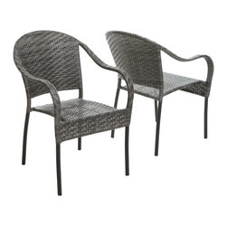 Great Deal Furniture - Livingston Outdoor Dark Grey Wicker Chair (Set of 2) - Enjoy some sun with these sturdy outdoor wicker chairs. These chairs will bring leisure and elegance to your backyard, patio or pool area and their neutral color can be easily matched with almost any decor. The Livingston outdoor wicker chair is the perfect addition to any outdoor space.