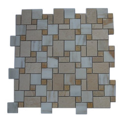 "Piazza Pattern Calcutta Blend Marble Tile - sample-PIAZZA PATTERN CALCUTTA BLEND 1/4 SHEET GLASS TILES SAMPLE You are purchasing a 1/4 sheet sample measuring approximately 6"" x 6"". Samples are intended for color comparison purposes, not installation purposes. -Glass Tiles -"