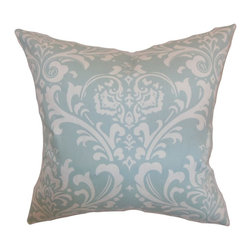 """The Pillow Collection - Malaga Damask Pillow Powder Blue 20"""" x 20"""" - Find the perfect spot to prop up this pretty damask throw pillow. This accent pillow is a refreshing sight to behold with its intricate white damask detail and powder blue background. Showcase this beautiful accessory by adding this on top of your sofa, bed, chair or nook. Mix and match this 20"""" pillow with equally chic solids or contrasting pattern for oomph factor in your interiors. Hidden zipper closure for easy cover removal.  Knife edge finish on all four sides.  Reversible pillow with the same fabric on the back side.  Spot cleaning suggested."""