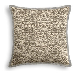 Gray Intricate Ogee Block Print Tailored Pillow - The Tailored Throw Pillow is an updated, contemporary pillow style with the center fabric framed by a thin contrast flange.  Voila…it's artwork for your couch!  We love it in this small intricate trellis handprinted in taupe on natural cotton.