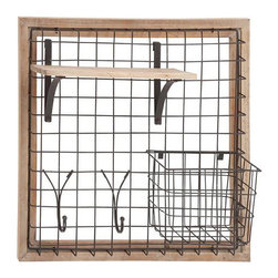 Industrialist Wall Organizer - With a chic combination of raw wood and metal wire, this organizer is an essential part of your command center. Use it to sort mail, hang keys, and more.
