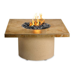 Sedona by Lynx - Sedona Square Sandalwood Ice n Fire with FREE Cover - LFPS-S - Shop for Fire Pits and Fireplaces from Hayneedle.com! Enjoy the outdoors any time of the year thanks to the Sedona Square Sandalwood Ice n Fire. This handsome outdoor accent is supported by an acrylic stucco base that provides a place to install a liquid propane fuel tank. A stainless-steel single-piece nautilus burner provides 65 000 BTUs of heat keeping you toasty even on the coldest nights with smoke- and odor-less flames. The square table is patterned with weatherproof sandalwood porcelain tiles. A T-handle valve controls the flow of gas while a push spark ignition makes light the pit a snap. The unit comes with a 30-quart stainless-steel refreshment bowl that you can fill with ice for keeping drinks cool during the warmer months. About Lynx Professional GrillsWhen it began in 1996 Lynx Professional Grills was committed to offering grills that elevated the outdoor cooking experience to new levels. Since then the company has expanded its offerings to a full range of outdoor living products including side burners cocktail stations refrigerators and more. Since its founding Lynx has set an industry standard for innovation engineering and design. Consumers prize the easy-to-clean specially welded stainless steel which endures under the harshest of outdoor conditions and delivers restaurant-quality design right to your home patio.