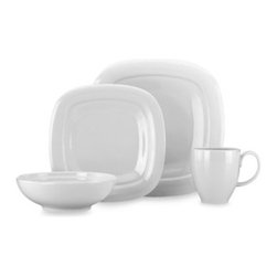 Lenox - Lenox Aspen Ridge Square 4-Piece Place Setting - Classic white porcelain gets a modern update with these clean, crisp lines. Dinnerware fits in perfect whether it's a special event or everyday meal.