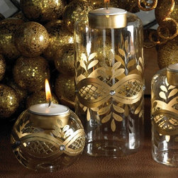 Balsam Hill 6 Inch Gold and Glass Tea Light Holder - MAY YOUR HOLIDAYS BE GOLDEN