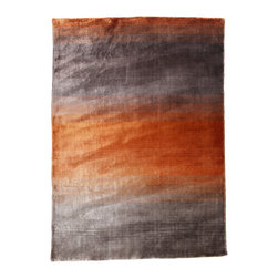 "Linie Design - GRACE Area Rug, Orange, 5'7""x7'9"" - Loom knotted 100% Viscose area rug designed by the Danish company Linie Design. Handmade in India by adult weavers using authentic traditional craftsmanship to create original and comfortable modern design rugs."