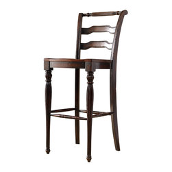 Hooker - Hooker Eastridge Ladderback Bar Stool (Set of 2) - The East ridge Ladder-back Bar Stool can create intimate dining experience. It features a warm black and brown old world finish over cherry veneers... and a touch of timeless European traditional style with an elegant fluted texture on the chair legs.