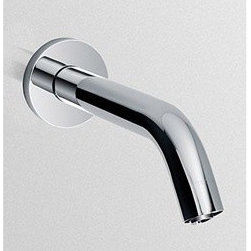"Toto - TOTO Helix(TM) Wall-Mount Thermal Mixing EcoPower(R) Sensor Faucet - Chrome - Available in Polished Chrome finish (#CP) only. AUTOMATIC FAUCETS- ECOPOWER(R) SYSTEM Designed for new and retrofit installations, TOTO's new technology of EcoPower generation sensor faucets offer easy installation without the cost and downtime required to install power supplies and wiring for each faucet. A contemporary styled spout provides a cascading flow of water over the users' hands, utilizing less than 0.8 gallons per cycle,while a hydro-powered turbine charges the power supply during usage eliminating the need for battery replacement or consumption of external electrical power for up to 10 years. DURABLE AND SAFE In today's facilities, durability and safety are essential. That's why TOTO faucets incorporate several integral features: an anti-scald thermal mixing chamber, waterproof electronic components, vandal proof assembly, a removable strainer to prevent clogging and make cleaning easier, and no touch operation. Mounting brackets with integral strainers and a self-cleaning solenoid valve allow for virtually uninterrupted use in high debris areas. THERMOSTATIC MIXER Unlike a standard mixing tee, TOTO's true thermostatic mixing valve provides an anti-scald feature using a state of the art shape memory alloy (SMA) controller. This mechanism reacts instantaneously to water reaching excessively high temperatures and automatically turns the water off preventing any discharge. Temperature stability is maintained to within +/- 3˚ F regardless of pressure and temperature fluctuations in the supply lines. Check valves are integrated into the mixer to prevent cross flow of water. The temperature of the water can also be adjusted with an external control knob. ""SMART SENSOR"" A self-adjusting sensor facilitates installation by preventing the need to make additional manual adjustments to the detection range, depending on the size of the basin the faucet is installed upon. The faucet will also automatically shut off in cases where false detection may occur, preventing water from continuously running. Features & Specs 10 or 60 second continuous discharge, thermal mixing Contemporary styling Cleaner restrooms and bathrooms, outstanding water savings Revolutionary EcoPower self-generating hydropower system Smart Sensor sets its own range, no adjustment Easy Access Screen for quick and easy cleaning ADA Compliant Low lead product (California CA AB-1953 and Vermont Act 193 compliant) NSF approval, suitable for both residential and commercial use Three Years Warranty View Spec Sheet"