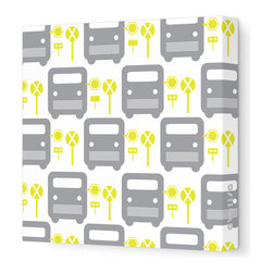 "Avalisa - Things That Go - Bus Stop Stretched Wall Art, 28"" x 28"", Yellow - For a cutting-edge art look, forget the frame! This poppy bus motif will be eye-catchingly cute in your child's room — or wherever young-at-heart grown-ups gather."